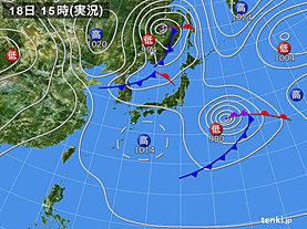 実況天気図(2019年04月18日)