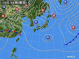 実況天気図(2019年04月19日)