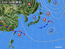 実況天気図(2019年04月20日)