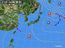 実況天気図(2019年04月21日)