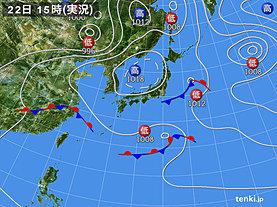 実況天気図(2019年04月22日)