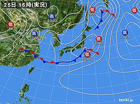 実況天気図(2019年04月25日)