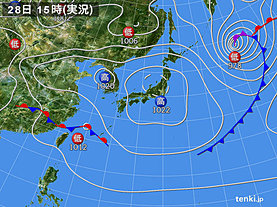実況天気図(2019年04月28日)
