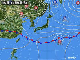 実況天気図(2019年05月16日)