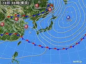 実況天気図(2019年05月18日)