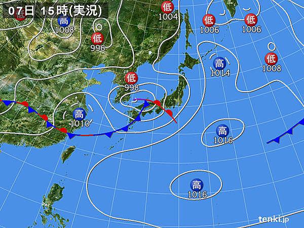 実況天気図(2019年06月07日)