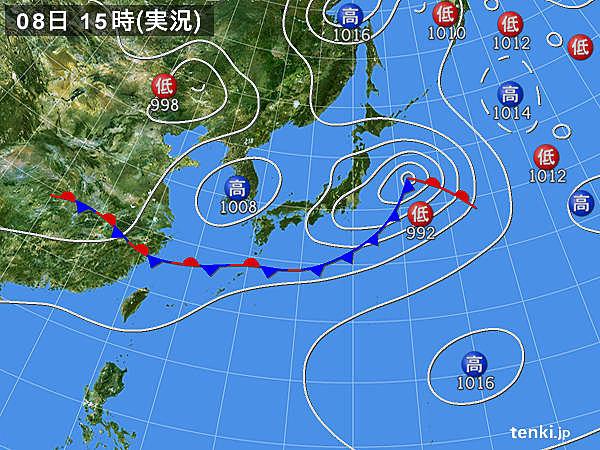 実況天気図(2019年06月08日)