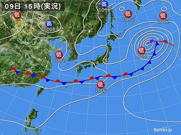 実況天気図(2019年06月09日)
