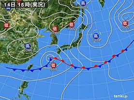 実況天気図(2019年06月14日)