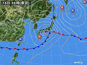 実況天気図(2019年06月15日)