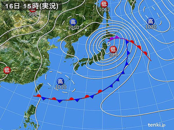 実況天気図(2019年06月16日)