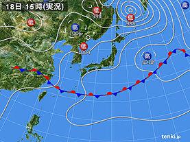 実況天気図(2019年06月18日)