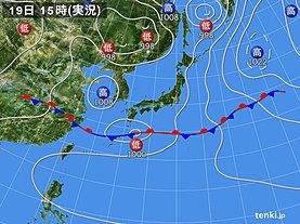 実況天気図(2019年06月19日)