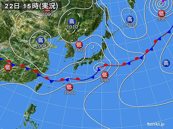 実況天気図(2019年06月22日)