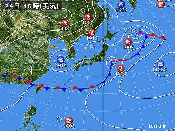 実況天気図(2019年06月24日)