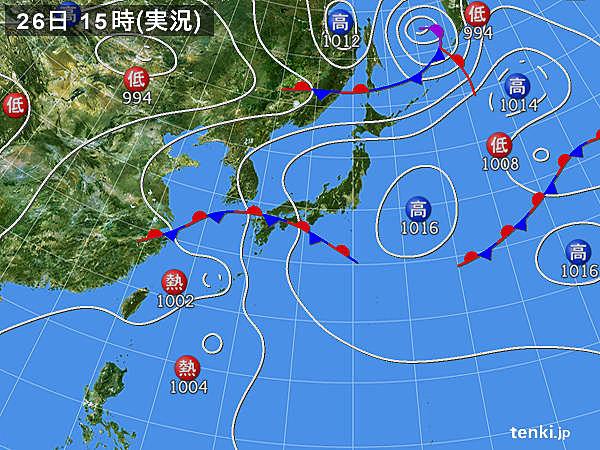 実況天気図(2019年06月26日)