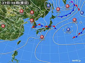実況天気図(2019年06月27日)
