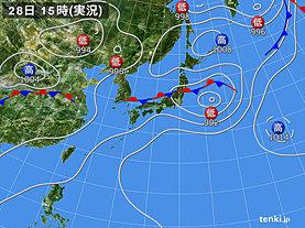 実況天気図(2019年06月28日)