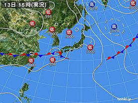 実況天気図(2019年07月13日)