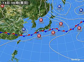 実況天気図(2019年07月14日)
