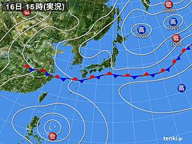実況天気図(2019年07月16日)