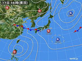 実況天気図(2019年07月17日)