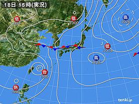 実況天気図(2019年07月18日)