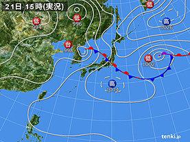 実況天気図(2019年07月21日)