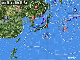 実況天気図(2019年07月22日)