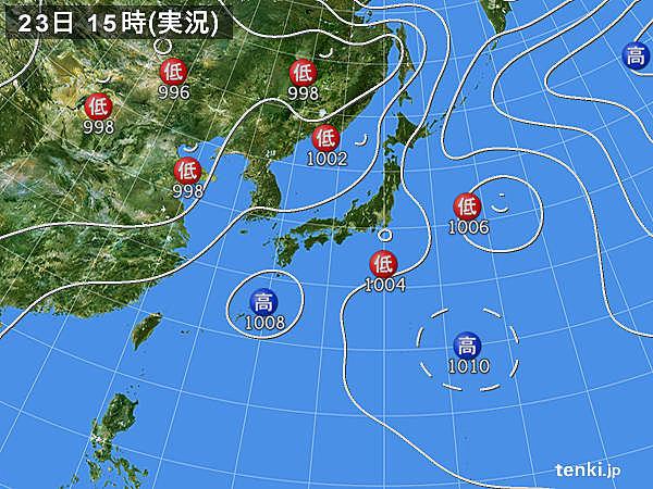 実況天気図(2019年07月23日)