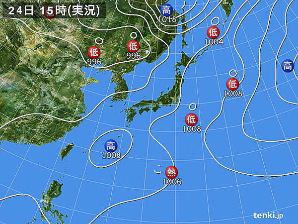 実況天気図(2019年07月24日)