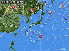 実況天気図(2019年07月25日)