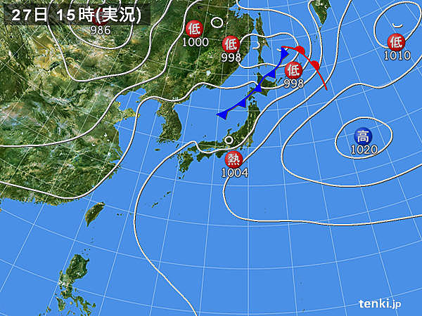 実況天気図(2019年07月27日)