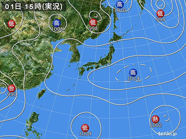 実況天気図(2019年08月01日)