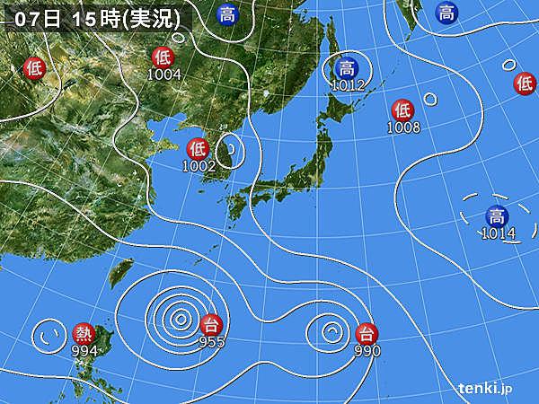 実況天気図(2019年08月07日)