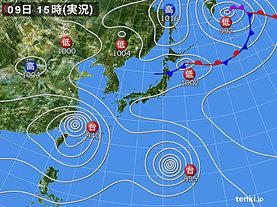 実況天気図(2019年08月09日)