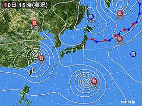 実況天気図(2019年08月10日)