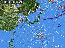 実況天気図(2019年08月11日)