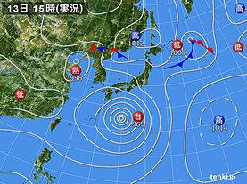 実況天気図(2019年08月13日)