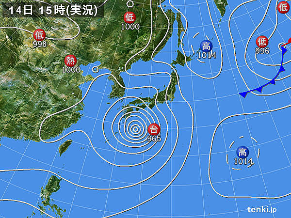 実況天気図(2019年08月14日)