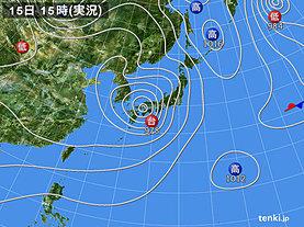 実況天気図(2019年08月15日)