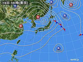 実況天気図(2019年08月16日)