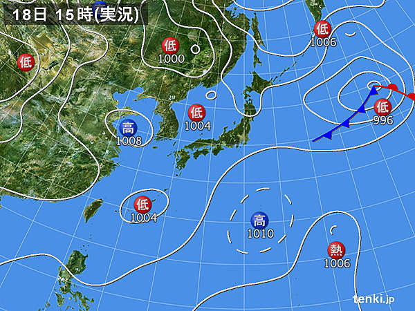 実況天気図(2019年08月18日)