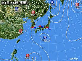 実況天気図(2019年08月21日)