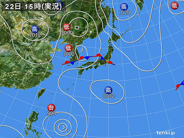 実況天気図(2019年08月22日)