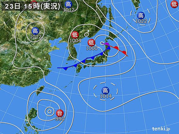 実況天気図(2019年08月23日)