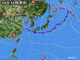 実況天気図(2019年08月25日)