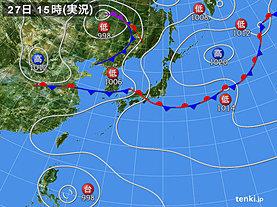 実況天気図(2019年08月27日)