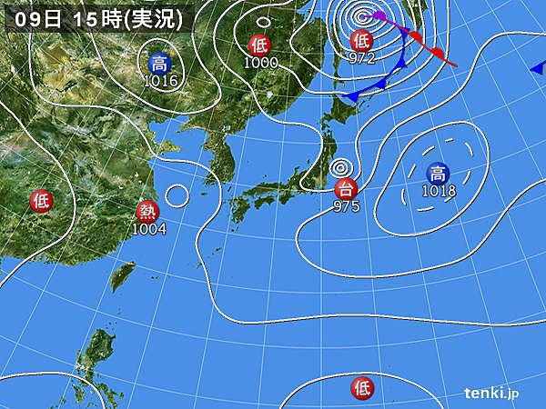 実況天気図(2019年09月09日)
