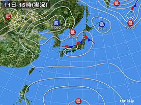実況天気図(2019年09月11日)